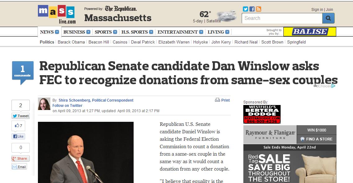 Republican Senate candidate Dan Winslow asks FEC to recognize donations from same-sex couples - masslive.com