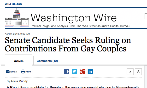 Log Cabin Republicans | WSJ: Senate Candidate Seeks Ruling