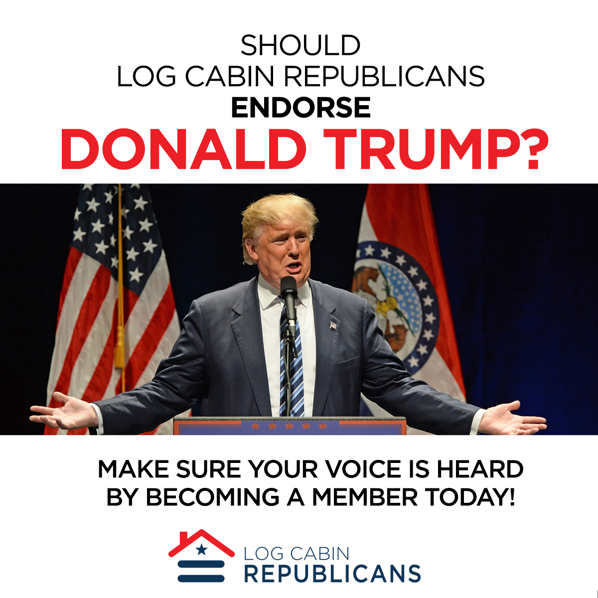 Very Impressive portraiture of Log Cabin Republicans Should Log Cabin Republicans Endorse Donald  with #851B0E color and 1200x1200 pixels